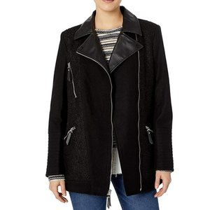 Kensie Asymmetrical Zip Wool Blend Coat Jacket
